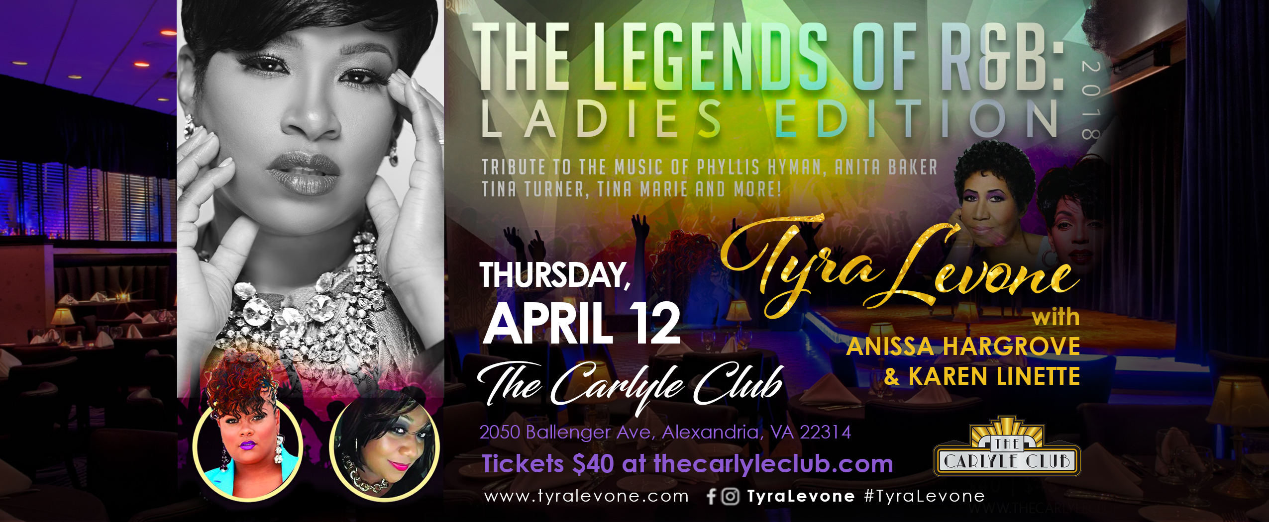 Tyra Levone Legends of R&B concert at The Carlyle Club